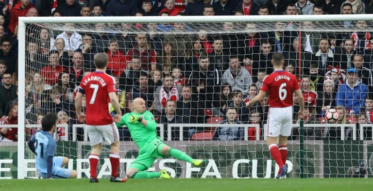David Silva (left) scores for Manchester City against Middlesbrough at the Riverside Stadium on March 11, 2017