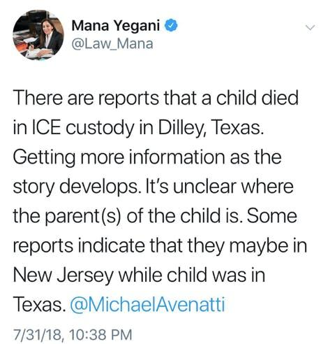 Reports That a Child Died in ICE Detention Center Spark Twitter Chaos