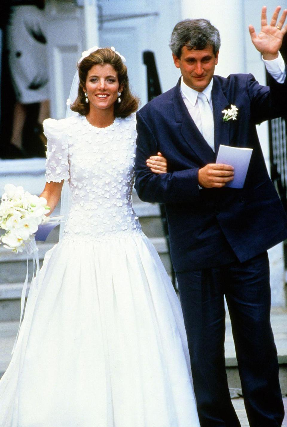 <p>Caroline and Edwin Schlossberg were married in the Church of Our Lady of Victory on July 19, 1986 in Cape Cod.</p>