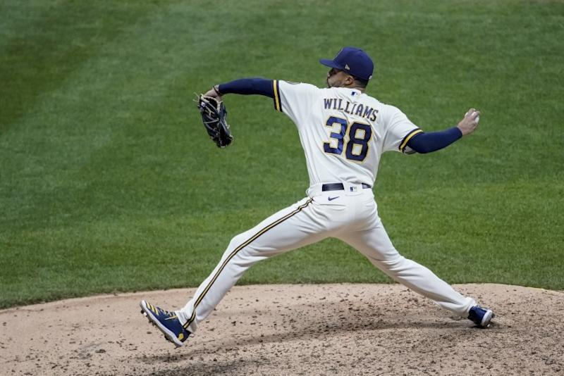 Milwaukee Brewers relief pitcher Devin Williams throws during the seventh inning of a baseball game against the Chicago White Sox Tuesday, Aug. 4, 2020, in Milwaukee. (AP Photo/Morry Gash)