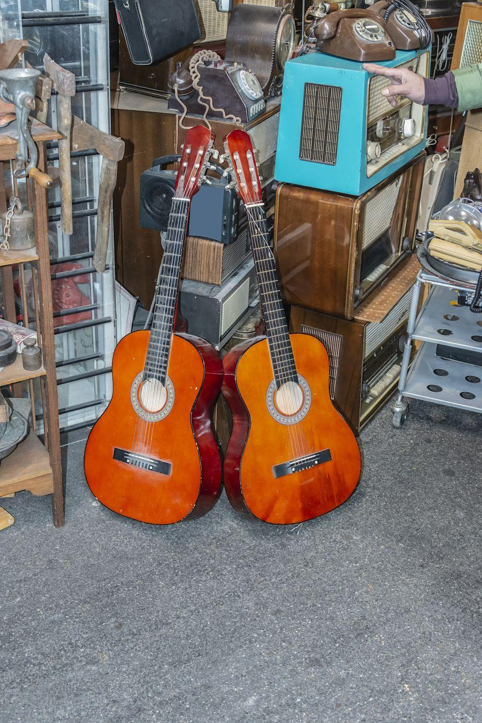 """<p>Whether or not you can play a lick, buying that old axe sitting in the corner of the garage sale can bring big returns. Used guitars from esteemed brands including Martin, Taylor, and Gibson can sell for thousands on sites like <a href=""""https://reverb.com/price-guide/acoustic-guitars"""" rel=""""nofollow noopener"""" target=""""_blank"""" data-ylk=""""slk:Reverb"""" class=""""link rapid-noclick-resp"""">Reverb</a>.</p>"""