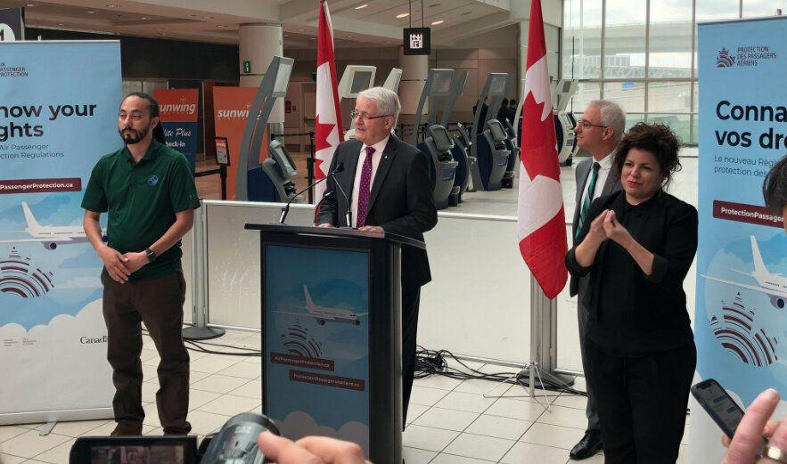 Federal Transport Minister Marc Garneau speaks at Pearson Airport in Toronto on Friday, May 24, 2019. (Yahoo Finance Canada)