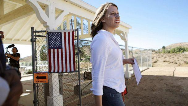 PHOTO: Democratic Congressional candidate Katie Hill prepares to enter a polling place to vote in California's 25th Congressional district on Nov. 6, 2018 in Agua Dulce, Calif. (Mario Tama/Getty Images, FILE)