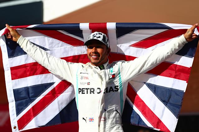 AUSTIN, TEXAS - NOVEMBER 03: 2019 Formula One World Drivers Champion Lewis Hamilton of Great Britain and Mercedes GP celebrates in parc ferme during the F1 Grand Prix of USA at Circuit of The Americas on November 03, 2019 in Austin, Texas. (Photo by Dan Istitene/Getty Images)