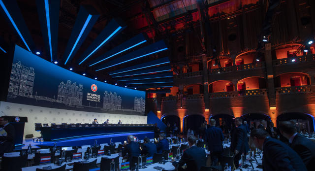 View of the meeting of European soccer leaders at the congress of the UEFA governing body in Amsterdam's Beurs van Berlage, Netherlands, Tuesday, March 3, 2020. (AP Photo/Peter Dejong )