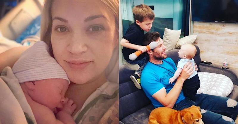 Carrie Underwood with newborn Jacob, Mike Fisher with his sons