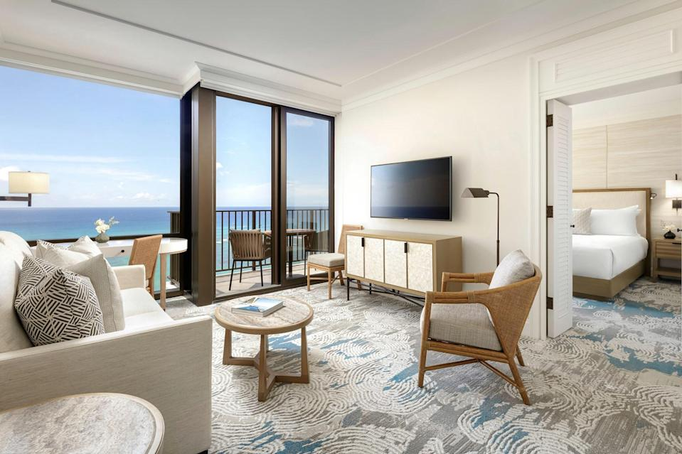"""<p>Looking for a more intimate stay? Then Halepuna Waikiki might be for you. The stylish sister hotel of <a href=""""https://www.halekulani.com/"""" rel=""""nofollow noopener"""" target=""""_blank"""" data-ylk=""""slk:Halekulani"""" class=""""link rapid-noclick-resp"""">Halekulani</a> offers ultra-spacious rooms at some of the best rates in Waikiki, with the added bonus that all kids under 17 stay free. In addition to typical family-oriented activities like snorkeling, paddle boarding, and <a href=""""https://www.cntraveler.com/gallery/the-best-surfing-spots-in-the-world?mbid=synd_yahoo_rss"""" rel=""""nofollow noopener"""" target=""""_blank"""" data-ylk=""""slk:surf lessons"""" class=""""link rapid-noclick-resp"""">surf lessons</a>, the hotel's Parc Arts program offers free access to museums across Honolulu, including the Honolulu Museum of Art. Family trips to the Honolulu Zoo, Waikiki Aquarium, and Diamond Head Crater Park can also be arranged. </p> <p>To ensure you maximize your time on the island, have the concierge tailor a daily itinerary for your family—whether you want to squeeze in a spa visit for the adults, or need tips on seeing Waikiki as a family (without falling into the tourist traps). Between all the activities though, make sure to book in time to just grab some of the free floaties available and take the gang to Waikiki Beach, mere steps away.</p> <p><strong>Book now:</strong> From $324 per night, <a href=""""https://cna.st/affiliate-link/5E4AhYT2XhXjw8s6nxd4vS9BVo8PmzcJxBbmWosajk3CLNFPMgNQyx7frDbTwEn2HGbnaCL7pi?cid=55099095481a91bb7819ffeb"""" rel=""""nofollow noopener"""" target=""""_blank"""" data-ylk=""""slk:halepuna.com"""" class=""""link rapid-noclick-resp"""">halepuna.com</a></p>"""