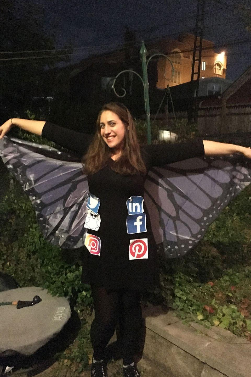 "<p>This social butterfly is about to take flight. </p><p><strong>RELATED:</strong> <a href=""https://www.goodhousekeeping.com/holidays/halloween-ideas/g23549593/meme-costumes/"" rel=""nofollow noopener"" target=""_blank"" data-ylk=""slk:13 Meme Costumes You Have to Try if You Love the Internet"" class=""link rapid-noclick-resp"">13 Meme Costumes You Have to Try if You Love the Internet</a></p>"