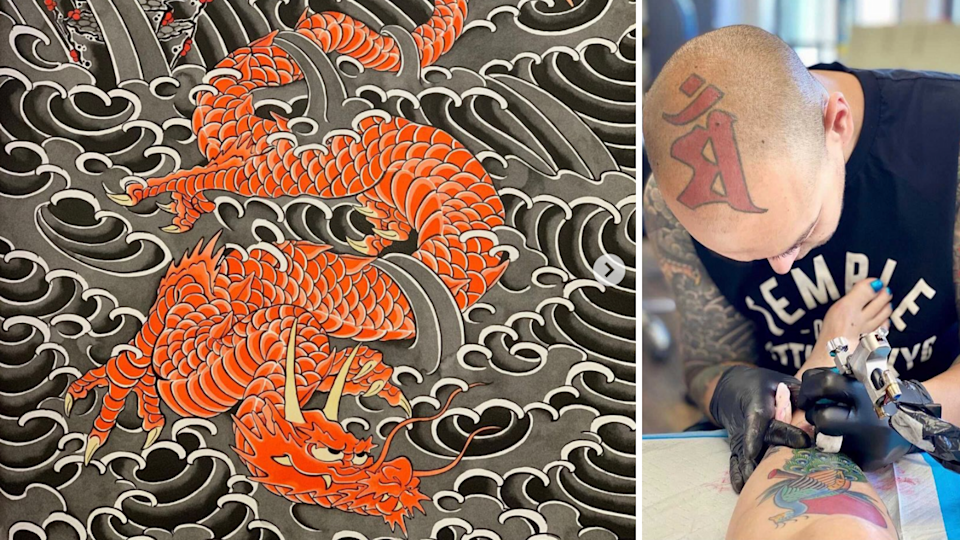 One of Lance Vilbro's artworks (left) and Vilbro tattooing a client (right)