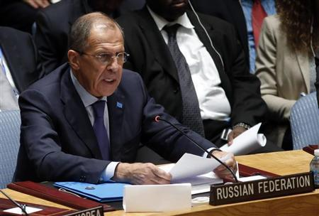 Russian Foreign Minister Lavrov speaks to the U.N. Security Council after it unanimously voted in favor of a resolution eradicating Syria's chemical arsenal during a Security Council meeting at the 68th U.N. General Assembly in New York