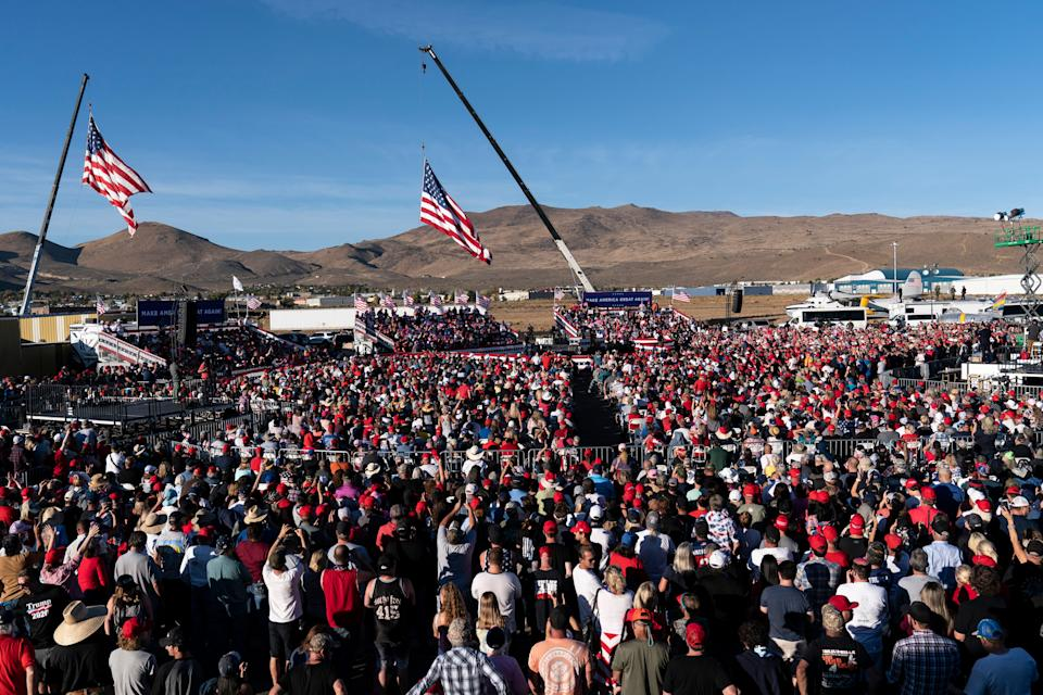 Trump speaks at a packed campaign rally held at the Carson City Airport on Oct. 18. (Photo: ASSOCIATED PRESS)