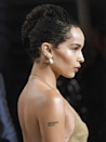 For a braided updo that's a little bit more retro, we love this old Hollywood beehive done on Zoë Kravitz. It's best pulled off with smaller box braids.