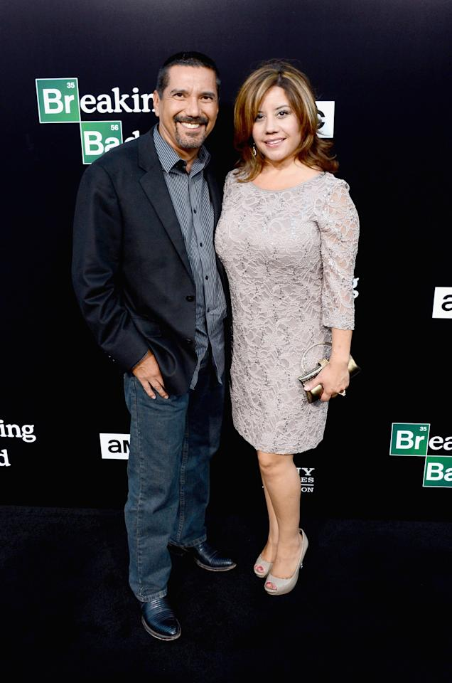 "CULVER CITY, CA - JULY 24: Actor Steven Michael Quezada and Cherise Desiree Quezada arrive as AMC Celebrates the final episodes of ""Breaking Bad"" at Sony Pictures Studios on July 24, 2013 in Culver City, California. (Photo by Mark Davis/Getty Images)"