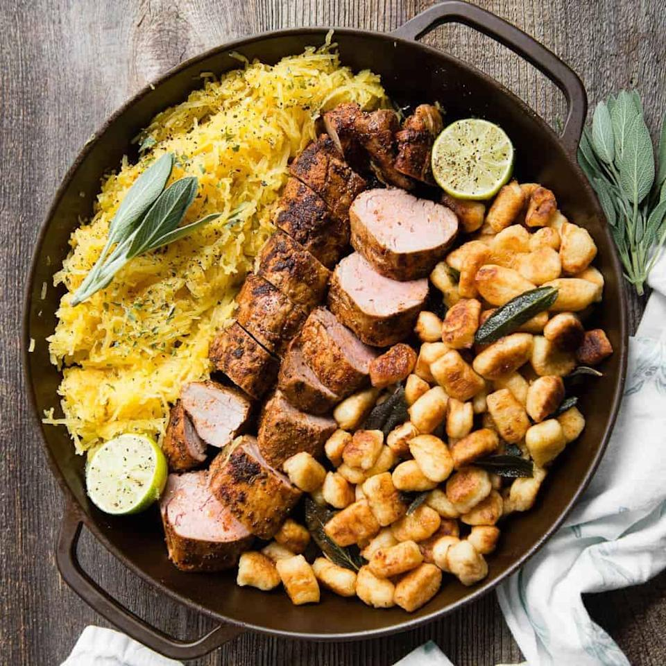 "<p>Easy to cook and oh-so-juicy, pork tenderloin will be the star of any dinner. Serve it with a side of cooked veggies, mashed potatoes, or enjoy it all on its own.</p> <p><strong>Get the recipe</strong>: <a href=""https://selfproclaimedfoodie.com/pork-tenderloin/"" class=""link rapid-noclick-resp"" rel=""nofollow noopener"" target=""_blank"" data-ylk=""slk:pork tenderloin"">pork tenderloin</a></p>"