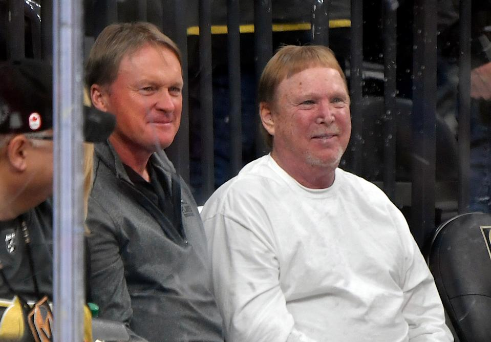 LAS VEGAS, NEVADA - FEBRUARY 13: (L-R) Las Vegas Raiders coach John Gruden and owner Mark Davis attend the game between the Vegas Golden Knights and the St. Louis Blues at T-Mobile Arena on February 13, 2020 in Las Vegas, Nevada. (Photo by Jeff Bottari/NHLI via Getty Images)