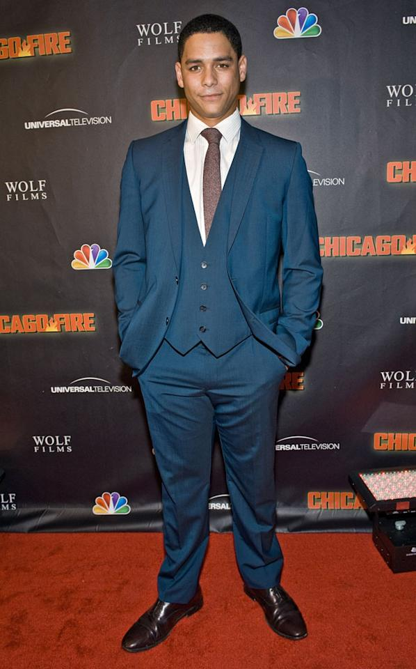 "Charlie Barnett attends NBC's ""Chicago Fire"" premiere at the Chicago History Museum on October 2, 2012 in Chicago, Illinois."
