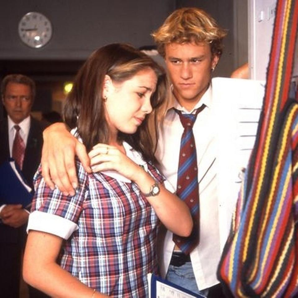 Kate Ritchie (Sally Fletcher) and the late Heath Ledger ('bad boy' Scott Irwin) on set in the late 1990s. Photo: Channel 7.