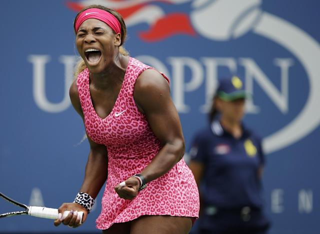 Serena Williams, of the United States, reacts after a shot against Varvara Lepchenko, of the United States, during the third round of the 2014 U.S. Open tennis tournament, Saturday, Aug. 30, 2014, in New York. (AP Photo/Darron Cummings)