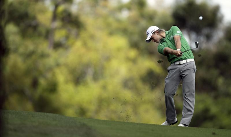 Tom Lewis, of England, hits from the seventh fairway during the second round of the Transitions golf tournament Friday, March 16, 2012, in Palm Harbor, Fla. (AP Photo/Chris O'Meara)