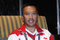 FIEL - In this Aug. 20, 2017, file photo, Indonesian Youth And Sports Minister Imam Nahrawi attends a press conference with Malaysian Youth and Sports Minister Khairy Jamaluddin in which Jamaluddin apologized to Indonesia for the mistake, which makes the red-and-white Indonesian flag resemble Poland's on a guidebook, in Kuala Lumpur, Malaysia. Nahrawi has resigned after being accused of stealing $1.8 million in public money. (AP Photo/Daniel Chan, File)