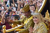 <p>Sultan Hassanal Bolkiah and Queen Saleha currently rule over Brunei in Borneo. He is currently the world's second longest-reigning monarch after Queen Elizabeth II<em> [Photo: Getty]</em> </p>