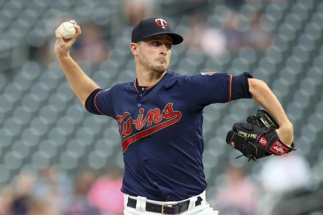 Minnesota Twins pitcher Jake Odorizzi throws against the Chicago White Sox in the first inning of a baseball game Wednesday, Sept. 18, 2019, in Minneapolis. (AP Photo/Jim Mone)