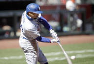 Los Angeles Dodgers' Mookie Betts singles in the sixth inning of the first game of a baseball doubleheader against the San Francisco Giants, Thursday, Aug. 27, 2020, in San Francisco. (AP Photo/Ben Margot)