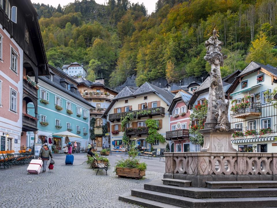 Hallstatt's village in Austria is pictured.