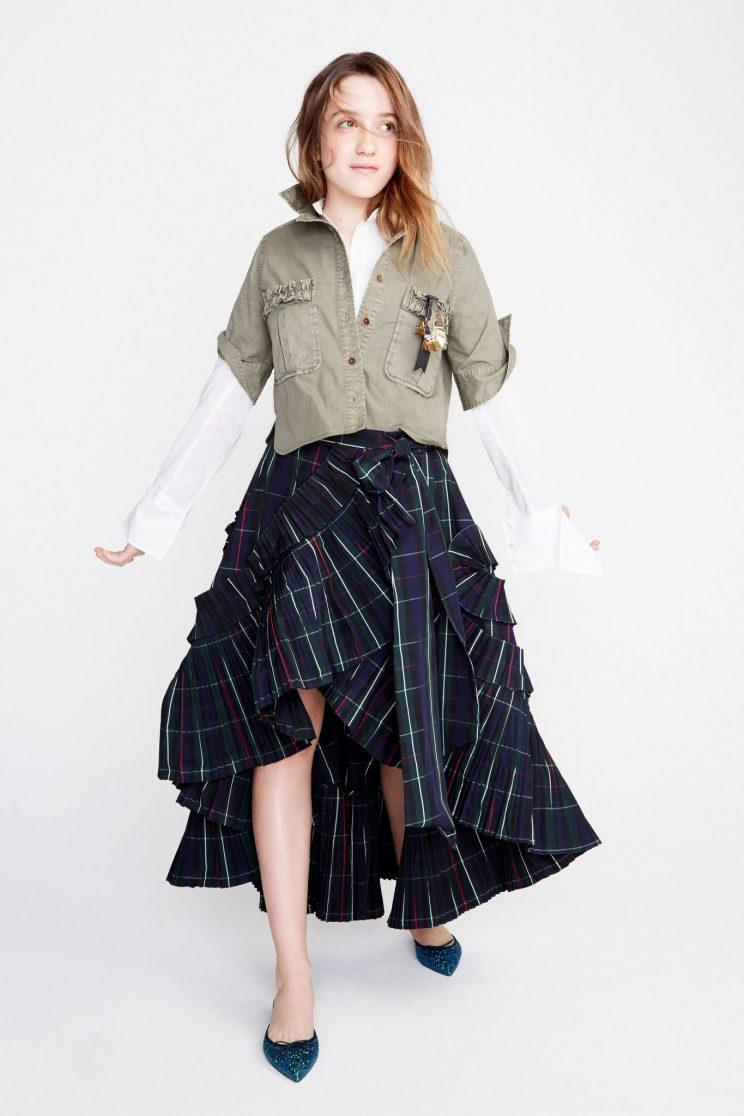 Mathilda Gianopoulos poses for J. Crew during NYFW (Photo by Getty Images).