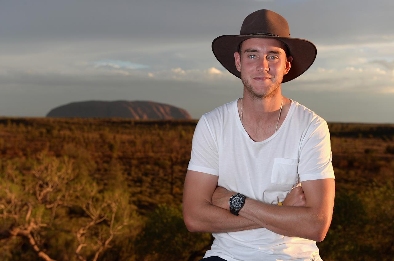 AYERS ROCK, AUSTRALIA - NOVEMBER 26:  Stuart Broad of England poses for a photograph during a team visit to Uluru, which is also known as Ayers Rock, on November 26, 2013 in Ayers Rock, Australia.  (Photo by Gareth Copley/Getty Images)