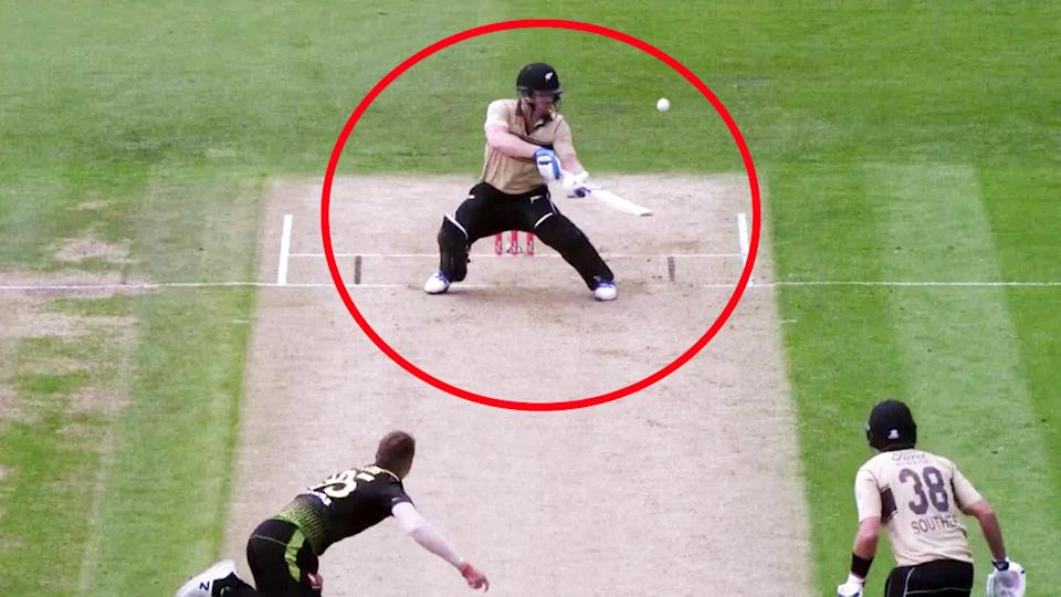 Jimmy Neesham, pictured here in the second T20 between Australia and New Zealand.