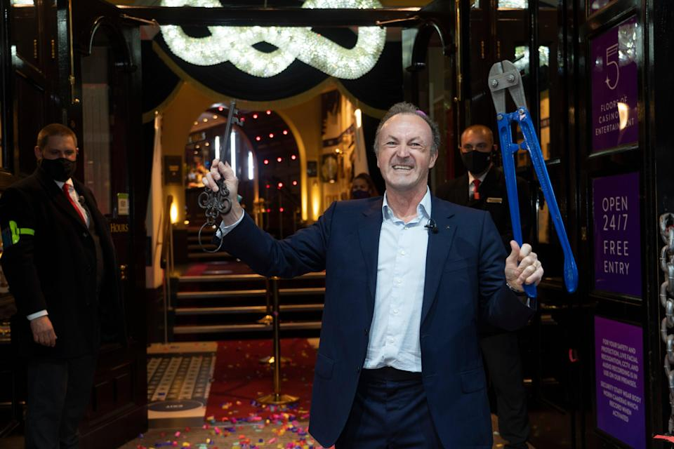 <p>Cutting it fine: Hippodrome CEO Simon Thomas took a pair of bolt-cutters to the doors of the famous casino</p> (Jeff Moore)