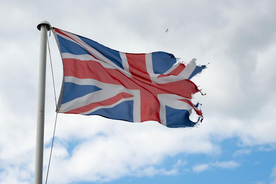 CARDIFF, UNITED KINGDOM - MAY 05: A torn British Union Jack flying in the wind on May 5, 2019 in Cardiff, United Kingdom. (Photo by Matthew Horwood/Getty Images)