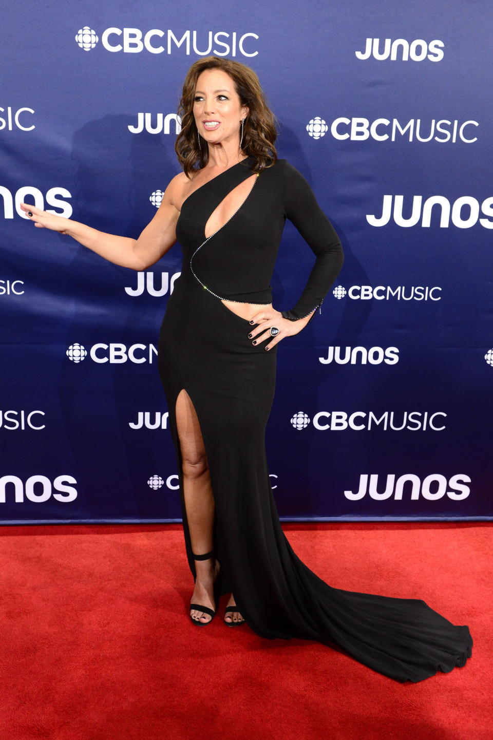 <p>The Junos host stunned in a cutout gown with a thigh-high slit and sequined detailing. </p>