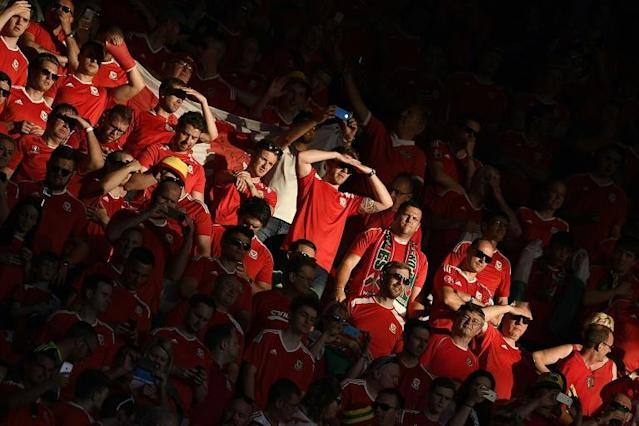 Wales fans wait for the start of the Euro 2016 semi-final against Portugal at the Parc Olympique Lyonnais on July 6, 2016 (AFP Photo/Martin Bureau)