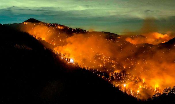 PHOTO: The Bobcat Fire is seen burning through the Angeles National Forest in Los Angeles County, California, on Sept. 17, 2020. (Kyle Grillot/AFP via Getty Images)