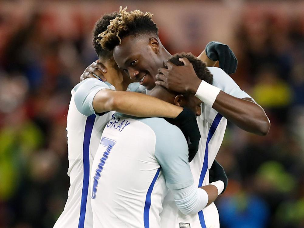 Tammy Abraham celebrates scoring his side's second goal of the game with team mates (PA)
