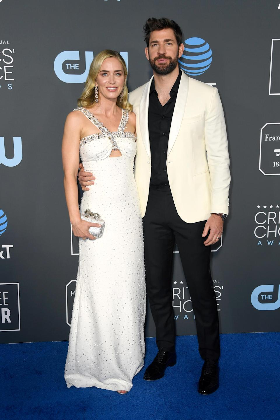 <p>Emily Blunt looked loved-up on the blue carpet with her husband John Krasinski. Source: Getty </p>