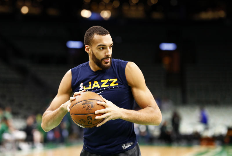 BOSTON, MASSACHUSETTS - MARCH 06: Rudy Gobert #27 of the Utah Jazz warms up before the game against the Boston Celtics at TD Garden on March 06, 2020 in Boston, Massachusetts. NOTE TO USER: User expressly acknowledges and agrees that, by downloading and or using this photograph, User is consenting to the terms and conditions of the Getty Images License Agreement. (Photo by Omar Rawlings/Getty Images)