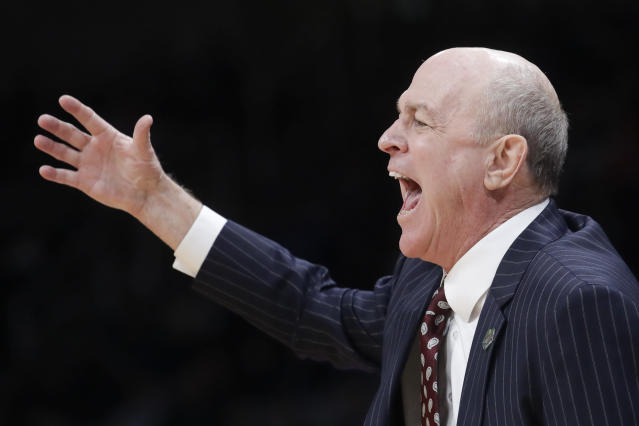 Mississippi State head coach Ben Howland yells during the second half against Liberty in a first-round game in the NCAA mens college basketball tournament Friday, March 22, 2019, in San Jose, Calif. (AP Photo/Jeff Chiu)