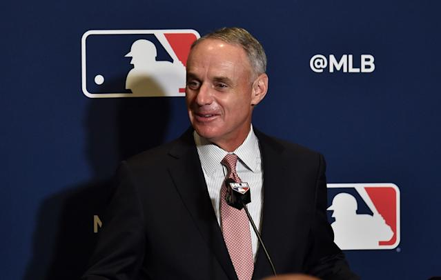 Commissioner Rob Manfred and Major League Baseball's owners appear intent on shaving games off the already delayed season simply to avoid paying players more than they want to. (Photo by Steve Mitchell-USA TODAY Sports)