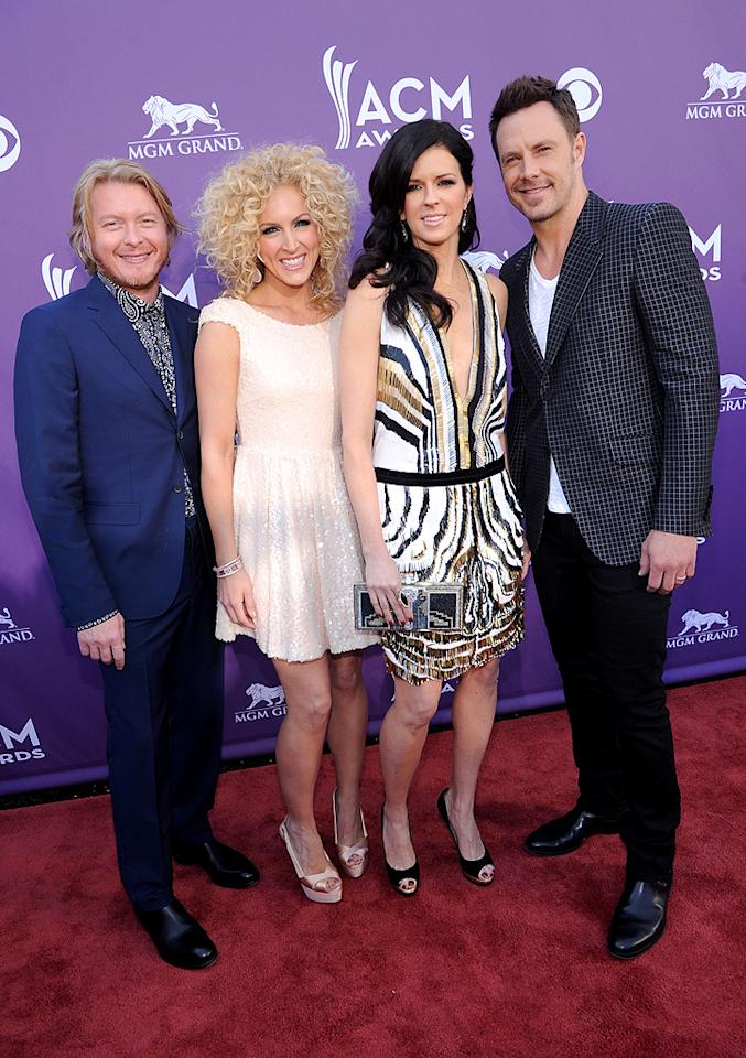 """Little White Church"" singers Little Big Town glammed up for the ceremony."