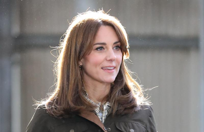 DUBLIN, IRELAND - MARCH 04: Catherine, Duchess of Cambridge visits the Teagasc Animal & Grassland Research Centre at Grange, in County Meath, during day two of the royal visit to Ireland on March 4, 2020 near Dublin, Ireland. (Photo by Aaron Chown - Pool/Getty Images)