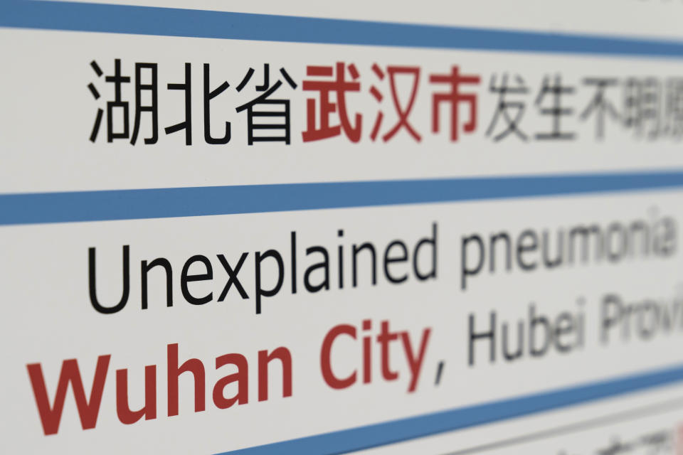 NARITA, JAPAN - JANUARY 17:  A notice for  passengers from Wuhan, China is displayed near a quarantine station at Narita airport on January 17, 2020 in Narita, Japan. Japan's Ministry of Health, Labour and Welfare confirmed yesterday its first case of pneumonia infected with a new coronavirus from Wuhan City, China. (Photo by Tomohiro Ohsumi/Getty Images)