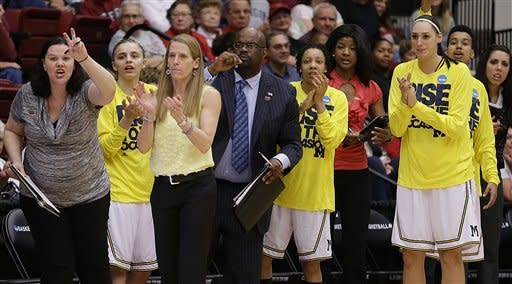 Players and coaches on the Michigan bench, including coach Kim Barnes Arico, third from left, watch during the first half of a first-round game in the women's NCAA college basketball tournament against Villanova on Sunday, March 24, 2013, in Stanford, Calif. (AP Photo/Ben Margot)