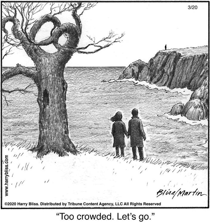 """New Yorker cartoon contributor Harry Bliss collaborated with comedian Steve Martin on this cartoon relating to the coronavirus pandemic. """"We need to take precautions but let's laugh at this too,"""" he said."""