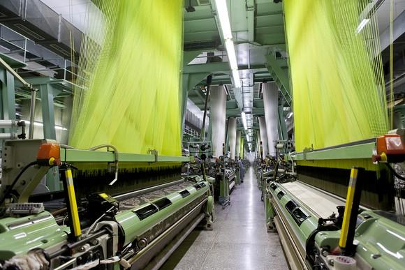 Inside of a textile factory.