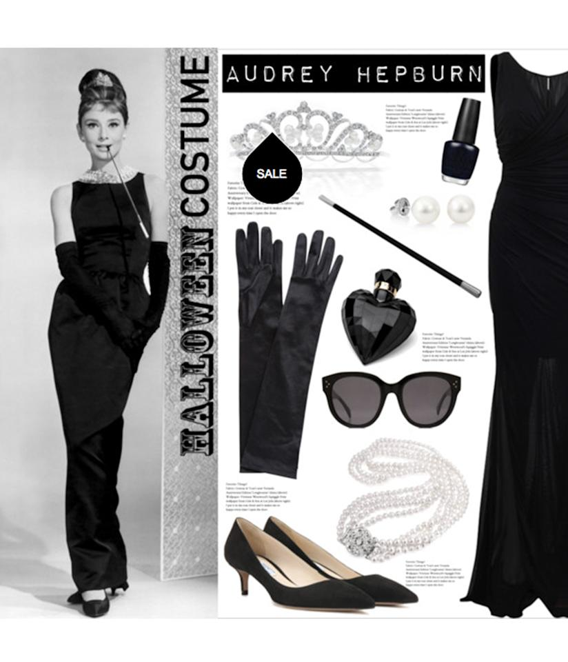 """<p>Make a splash in the maxi dress and pearl look worn by <a rel=""""nofollow"""" href=""""http://www.polyvore.com/diy_halloween_costume/set?id=209565521"""">Holly Golightly</a> in the opening scene of """"Breakfast at Tiffany's"""" – let's not forget that this was a walk of shame/pride scene – we should all look so chic stumbling home the day after Halloween. </p>"""