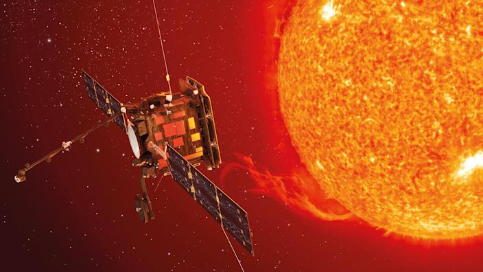 Artist impression of The Solar Orbiter getting close to the Sun. (BEIS via PA)