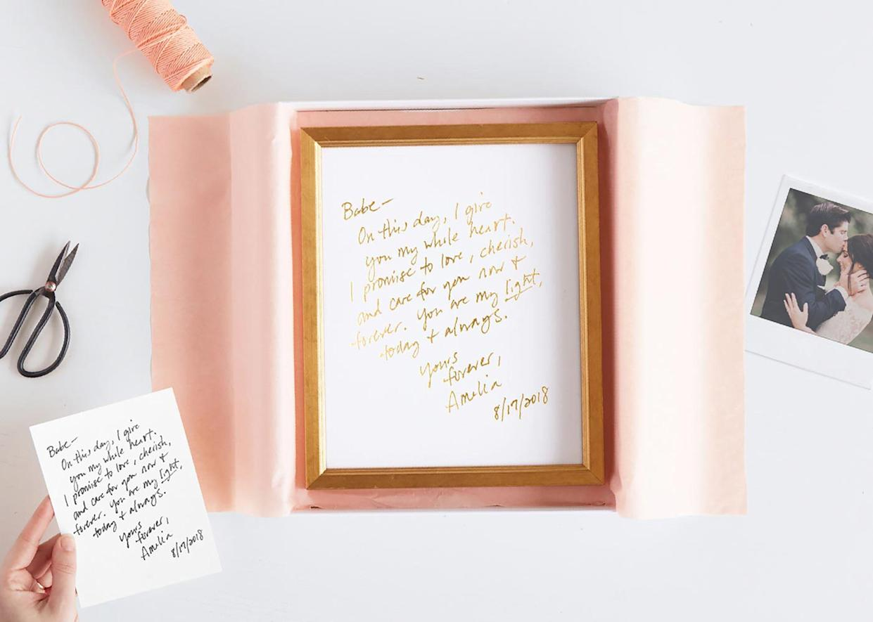 "<p><strong>The Gift: Foiled Pressed Love Note</strong><br>Skip the drugstore V-Day card and turn your love letter into a lasting statement instead — Minted transforms hand-written notes into foil-pressed and framed art pieces for sentimental home accenting.</p> <br> <br> <strong>Minted</strong> Foil Art Print, $104, available at <a href=""https://www.minted.com/product/custom-foil-drawing-art/MIN-XX6-DFA/your-drawing-as-foil-art-print?color=A&shape="" rel=""nofollow noopener"" target=""_blank"" data-ylk=""slk:Minted"" class=""link rapid-noclick-resp"">Minted</a>"